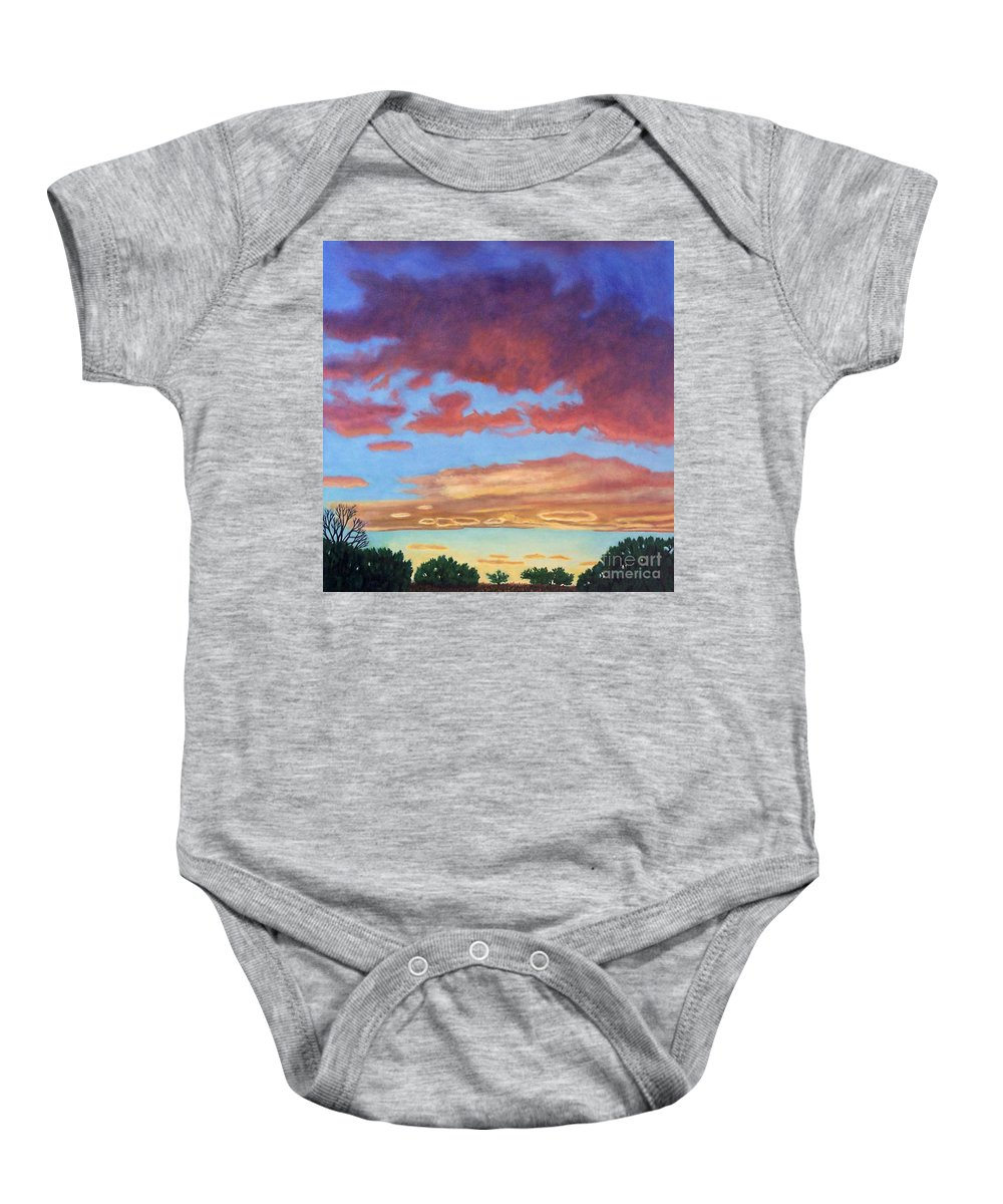Sunset Baby Onesie featuring the painting El Dorado Sunset by Brian Commerford