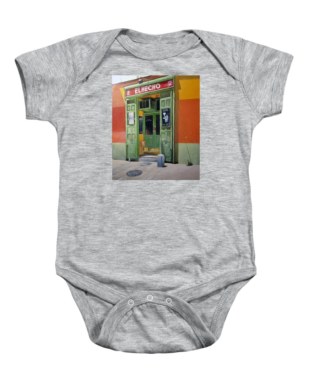 Hecho Baby Onesie featuring the painting El Hecho Pub by Tomas Castano