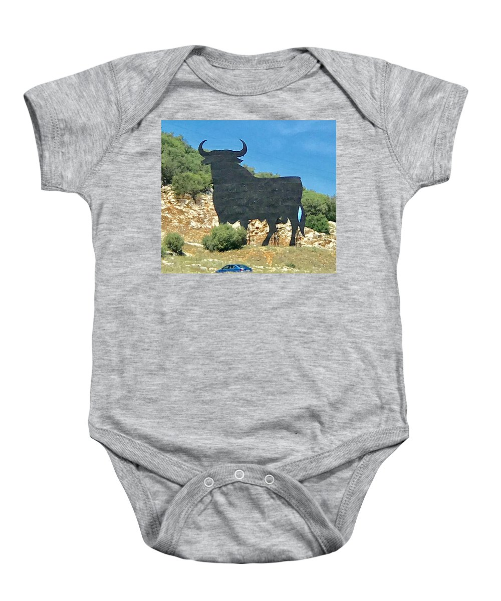El Toro Baby Onesie featuring the photograph El Toro In The Andalucian Countryside by Kenlynn Schroeder