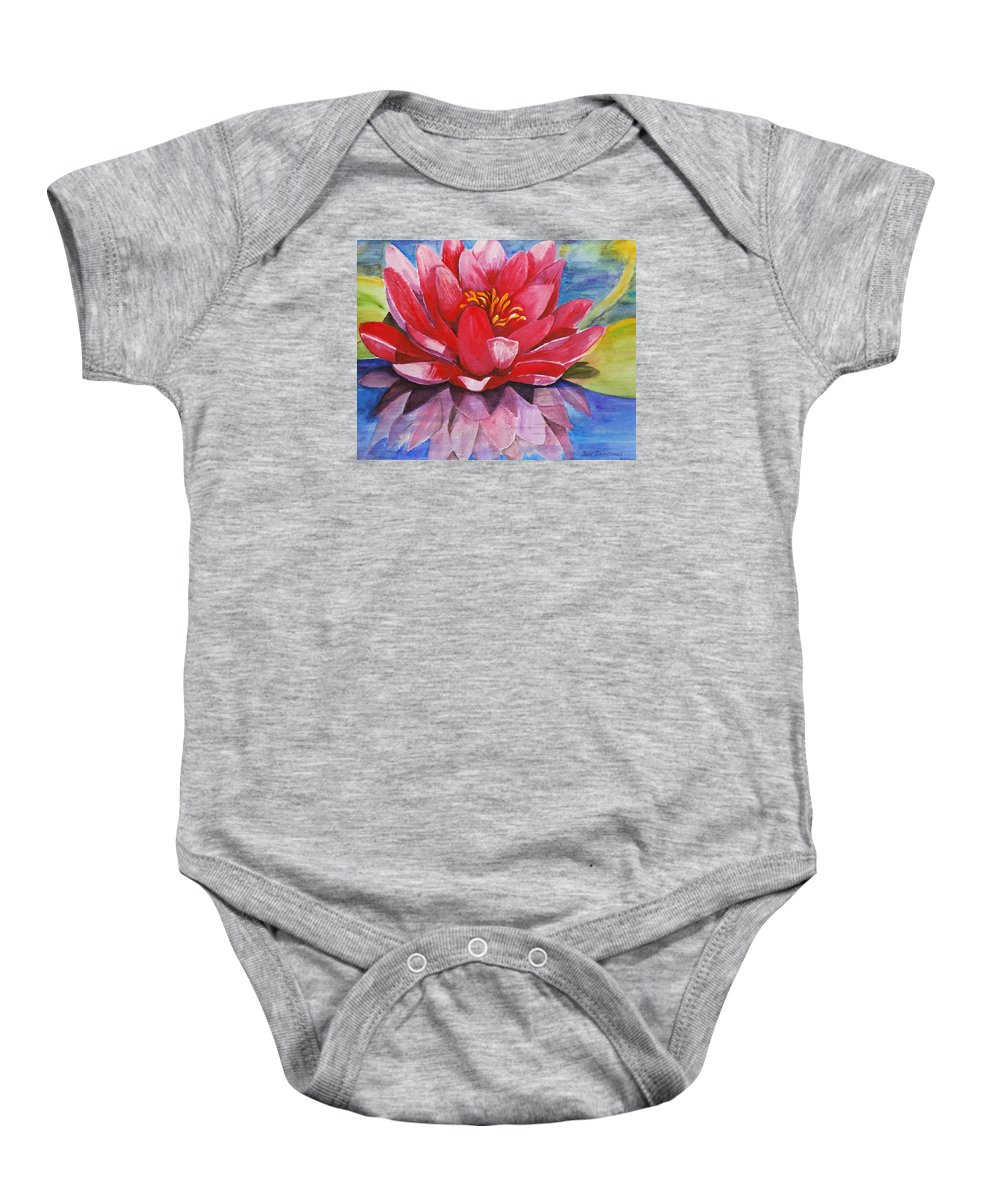 Lily Baby Onesie featuring the painting Ela Lily by Jun Jamosmos