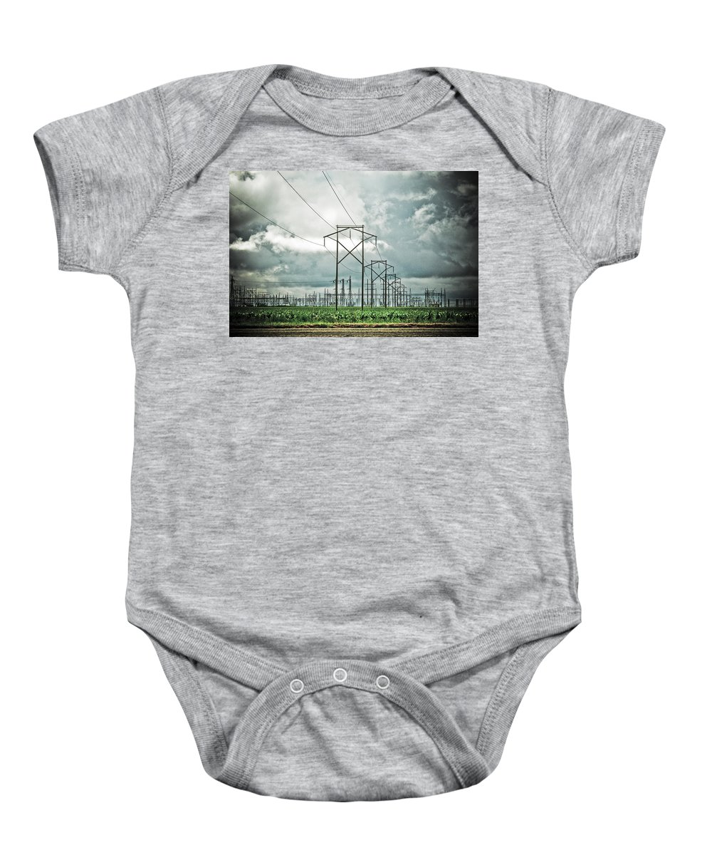 Electric Baby Onesie featuring the photograph Electric Lines And Weather by Marilyn Hunt