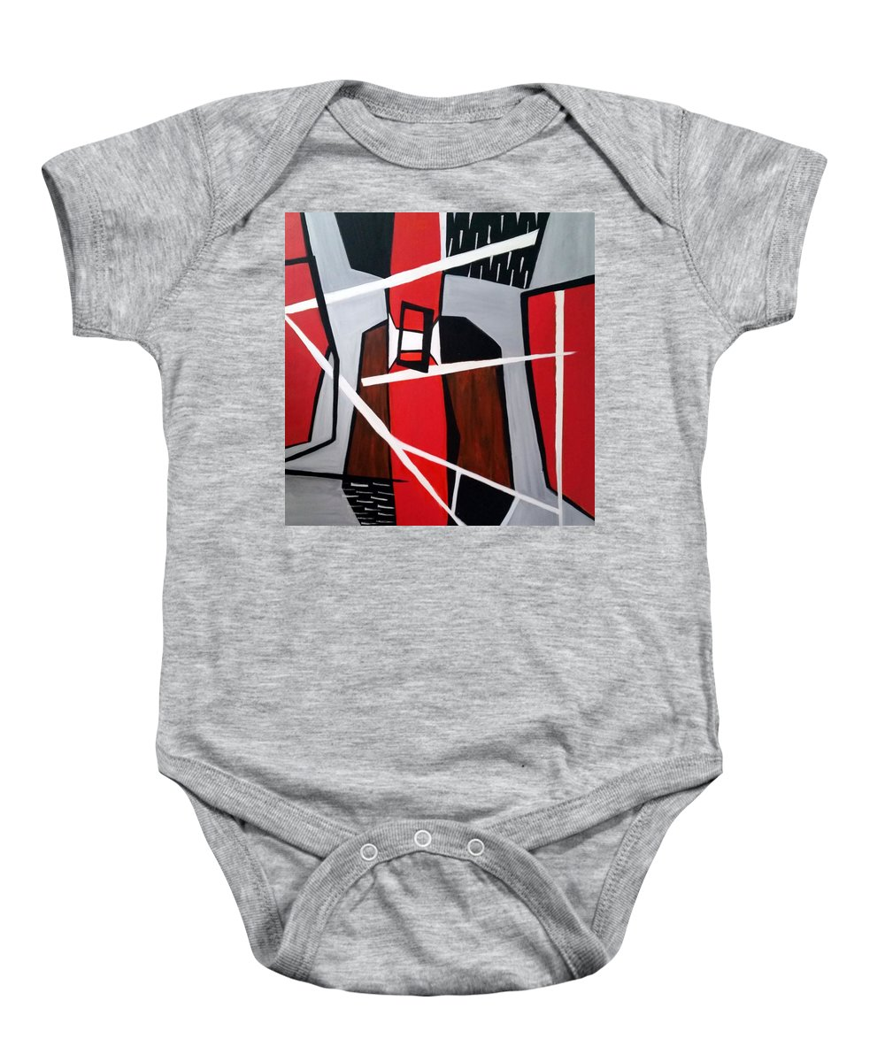 Abstract Baby Onesie featuring the painting Electric by Rosie Sherman