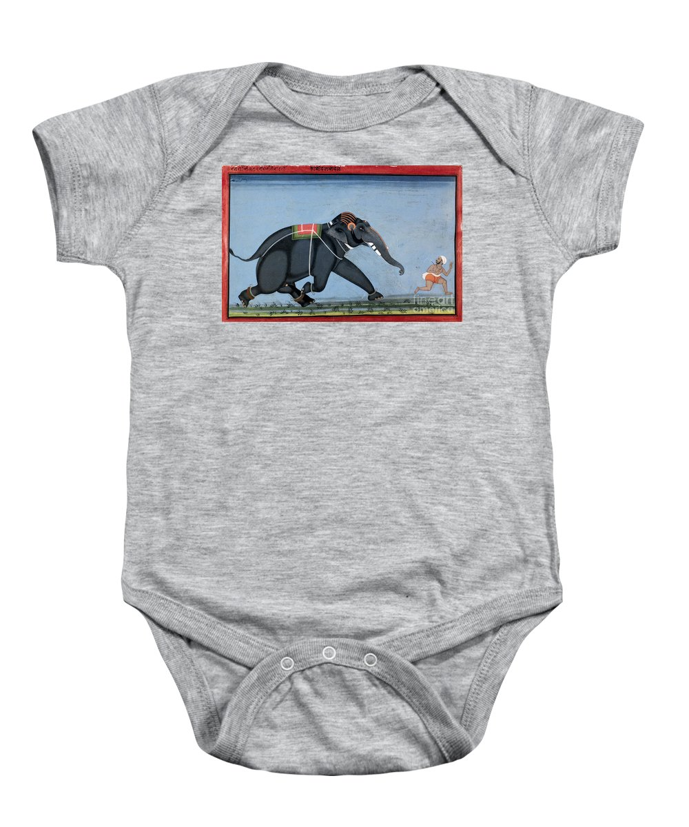 1750 Baby Onesie featuring the photograph Elephant & Trainer, C1750 by Granger