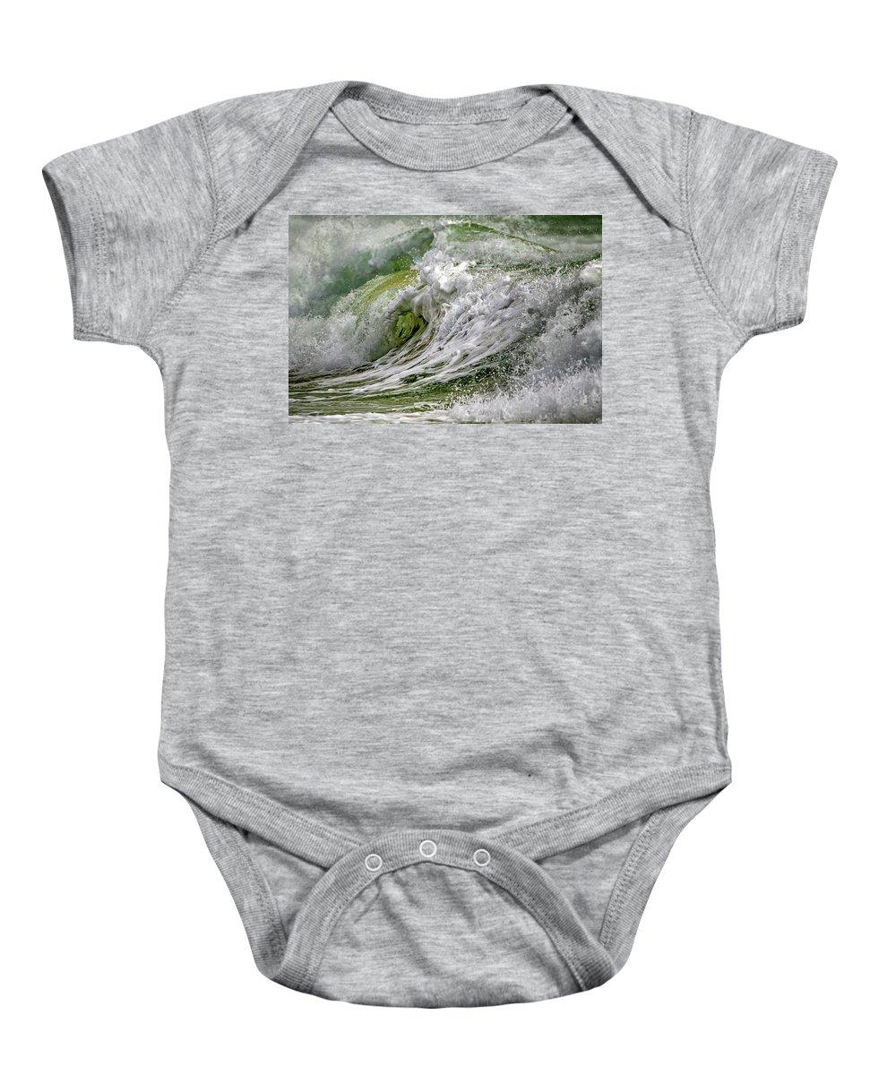 Dark Baby Onesie featuring the photograph Emerald Storm by Stelios Kleanthous