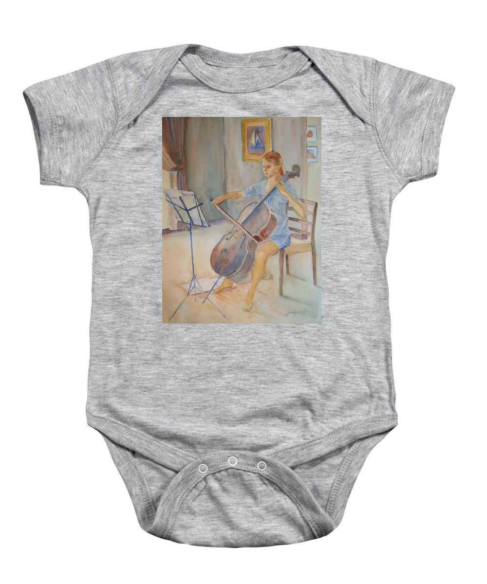 Girls Baby Onesie featuring the painting Emma And Clifford by Jenny Armitage