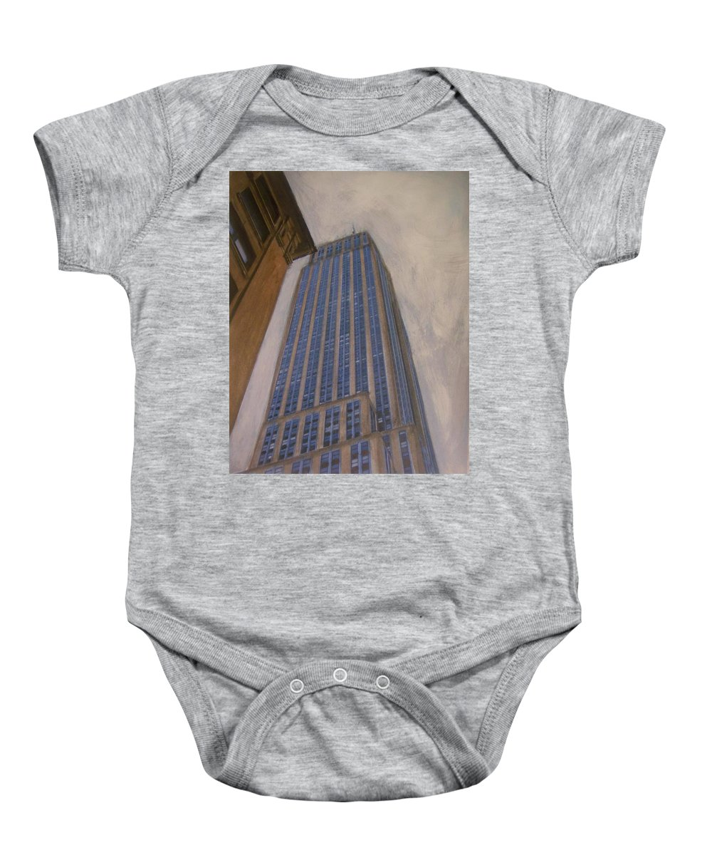 Empire State Building Baby Onesie featuring the mixed media Empire State Building 2 by Anita Burgermeister