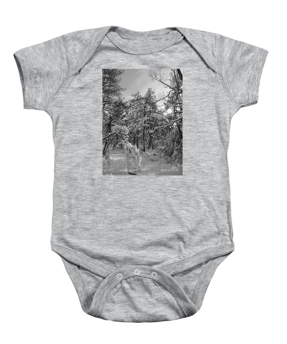 Black And White Baby Onesie featuring the photograph Empty Travel by Chad Natti