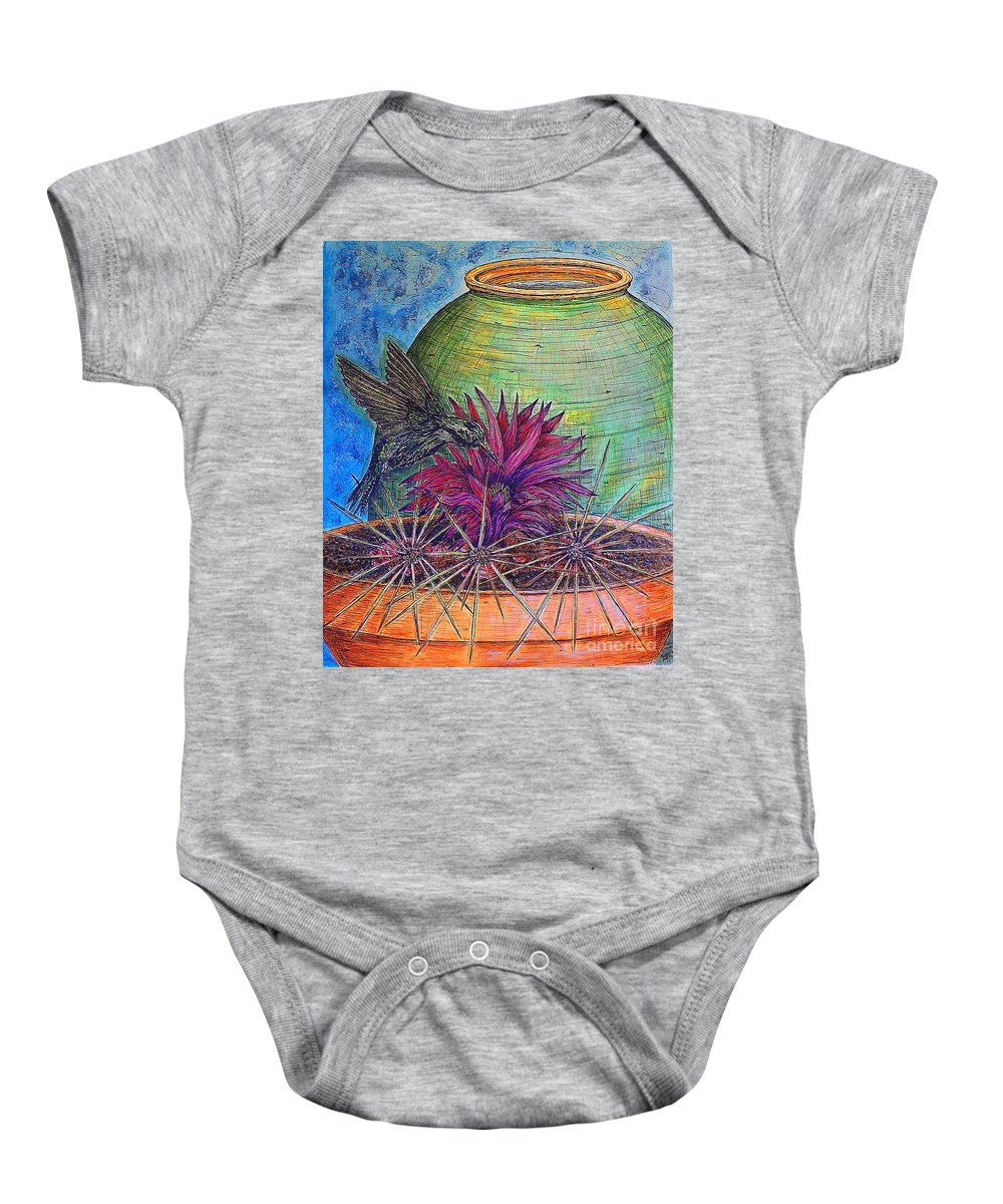 Still Life Baby Onesie featuring the painting En Route by Kim Jones