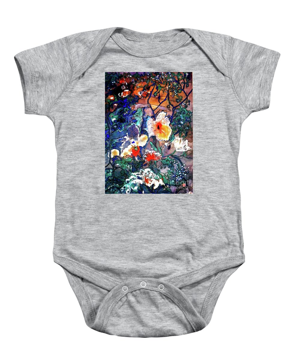 Landscape Baby Onesie featuring the painting Enchanted Garden by Norma Boeckler