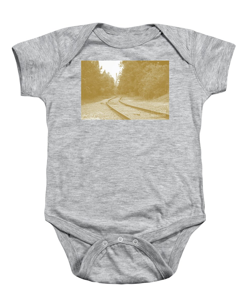 Rail Baby Onesie featuring the photograph End Of The Rail-sepia by Jost Houk