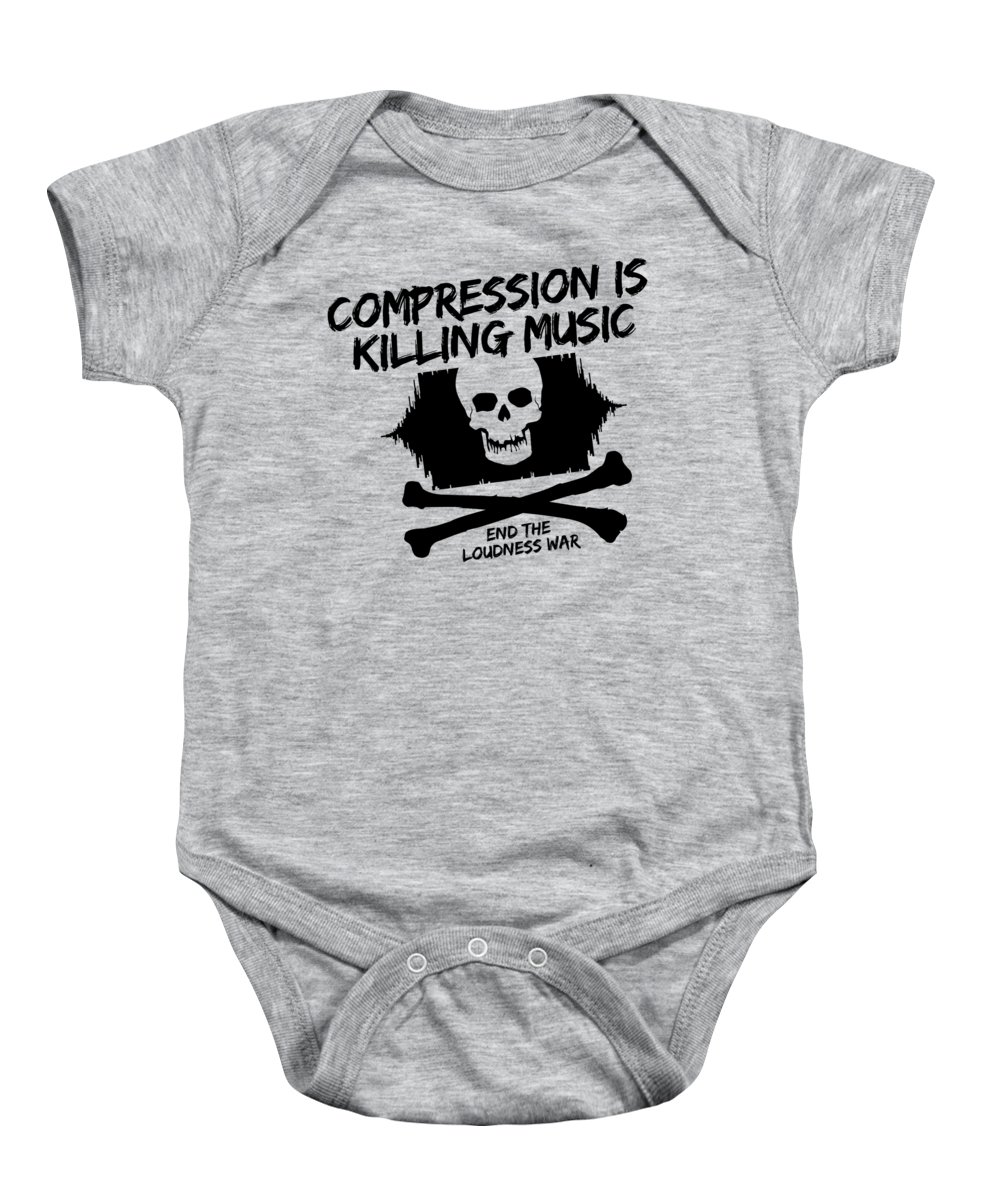 Loudness War Baby Onesie featuring the digital art End The Loudness War by Annie Charnley