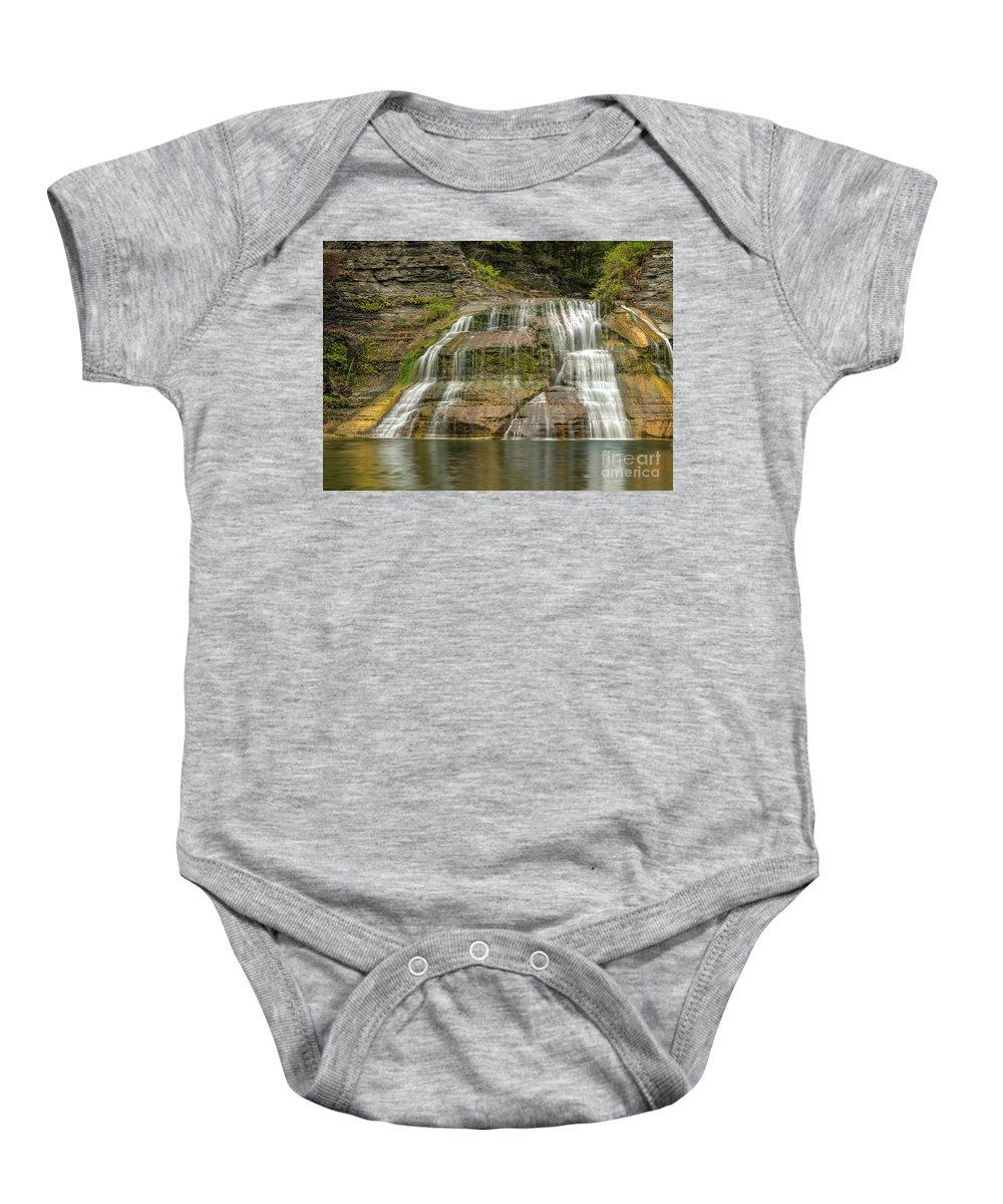 New York Baby Onesie featuring the photograph Enfield Falls Tompkins County New York by Karen Jorstad