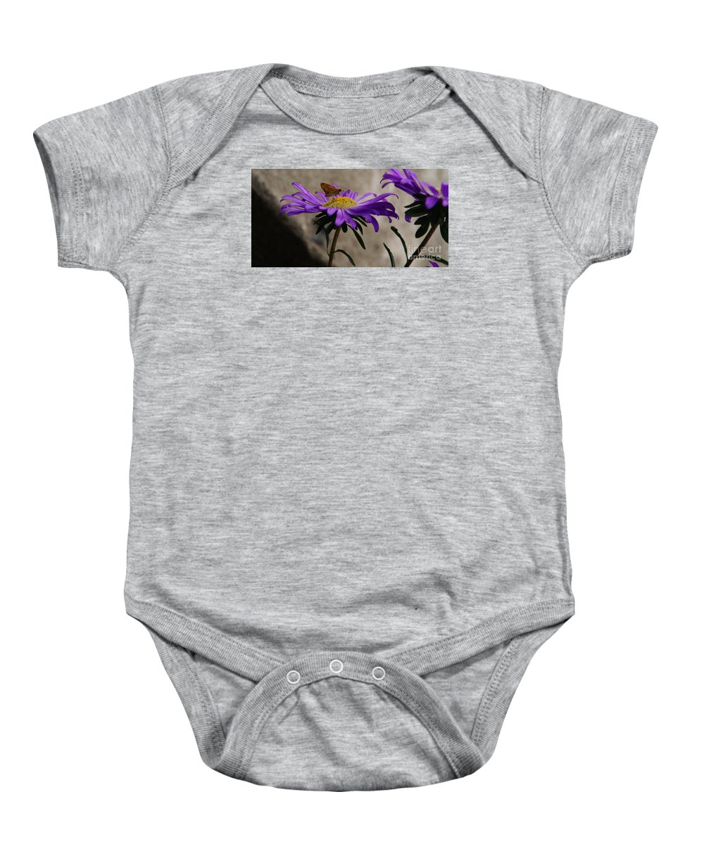 Flower Baby Onesie featuring the photograph Engaged In Purple by Linda Shafer