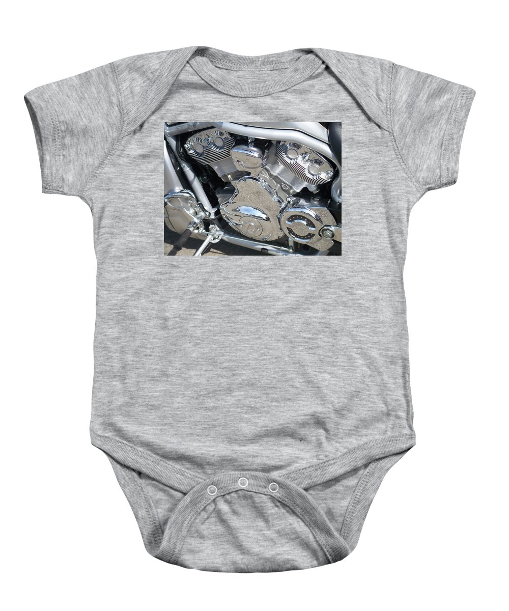 Motorcycle Baby Onesie featuring the photograph Engine Close-up 2 by Anita Burgermeister