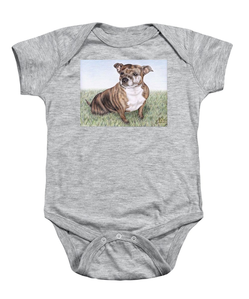 Dog Baby Onesie featuring the drawing English Staffordshire Terrier by Nicole Zeug