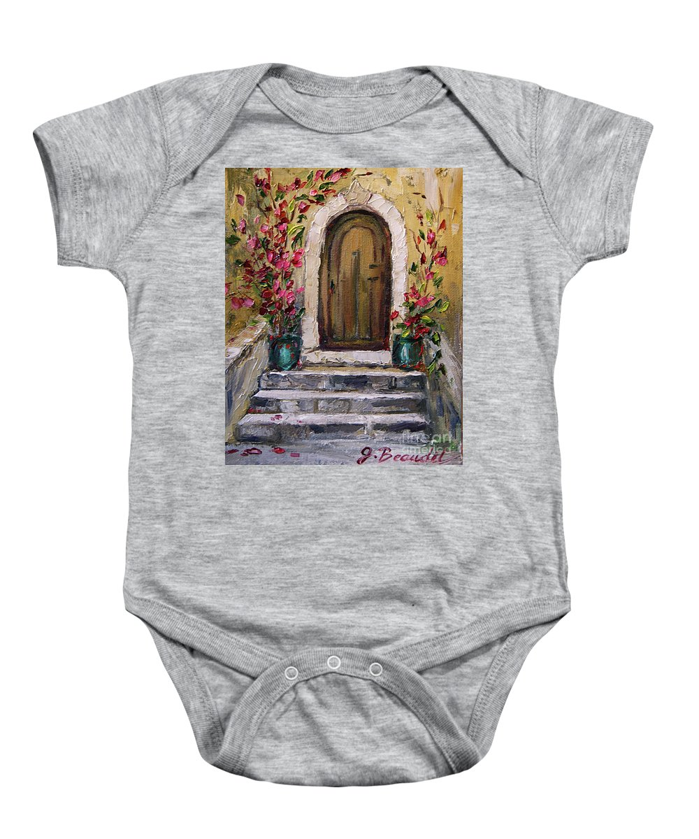 Door Art Baby Onesie featuring the painting Enter Here by Jennifer Beaudet