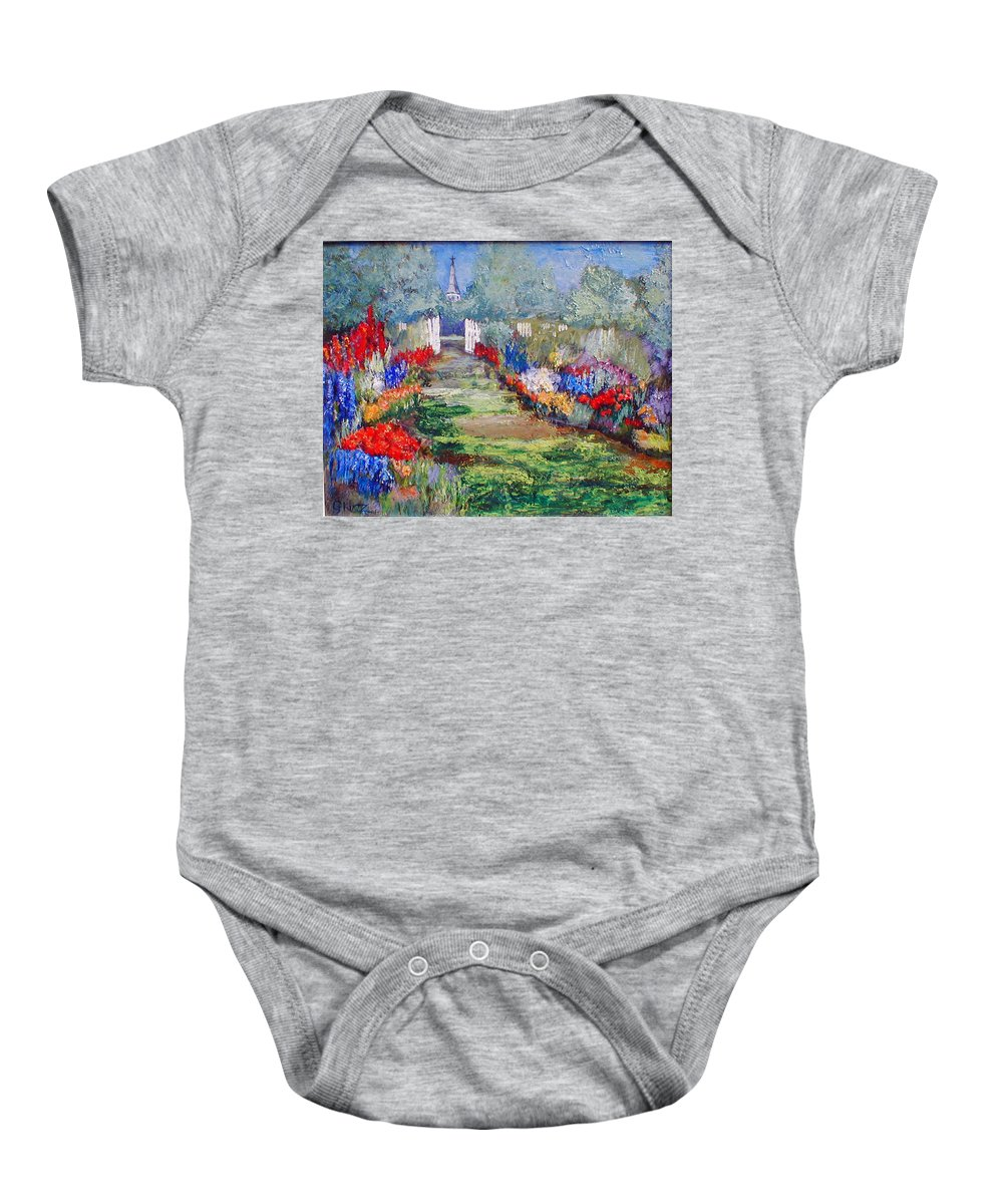 Landscape Baby Onesie featuring the painting Enter His Gates by Gail Kirtz