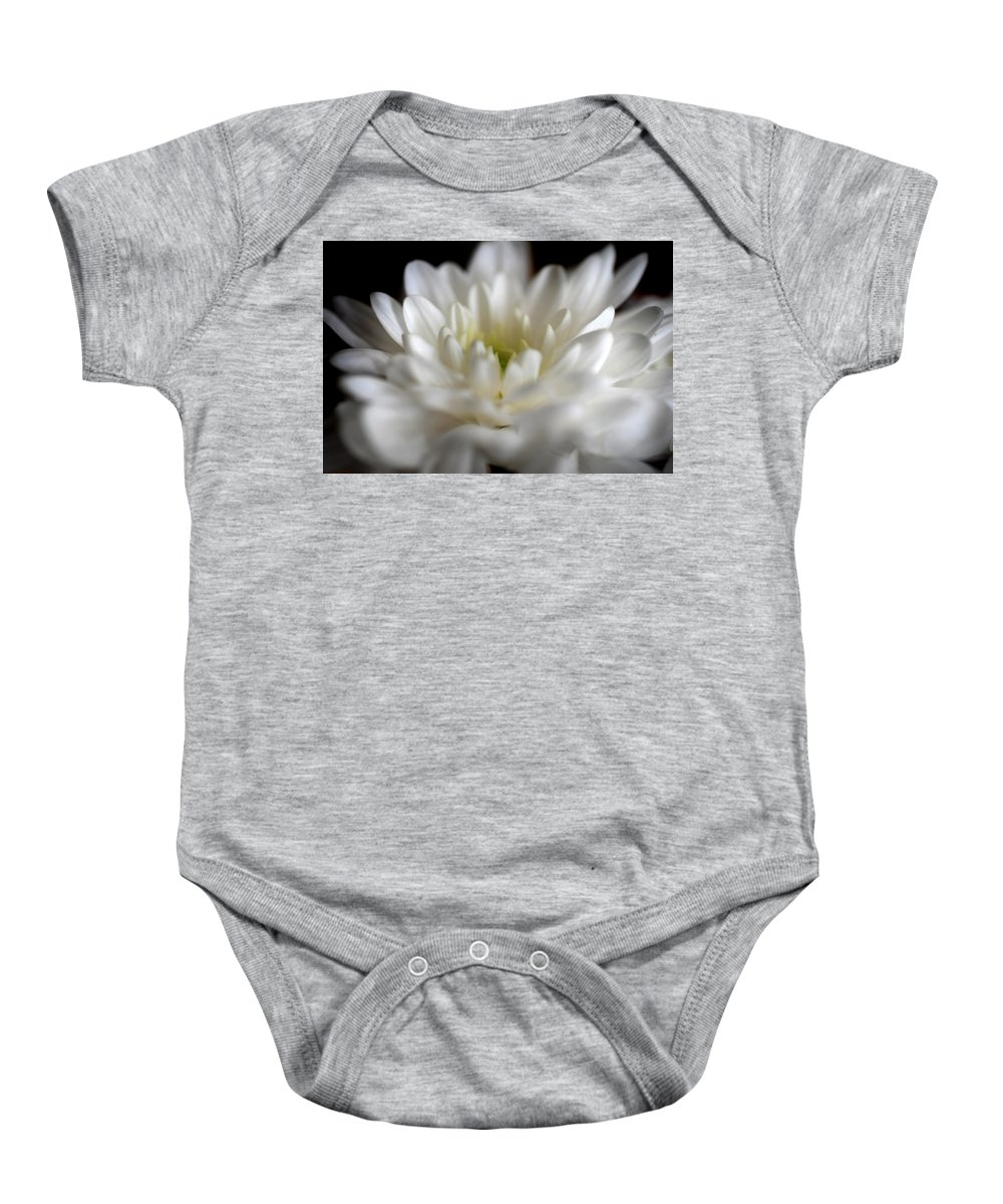 Chrysanthemum Baby Onesie featuring the photograph Essential Lightness Of Being by Jenny Rainbow