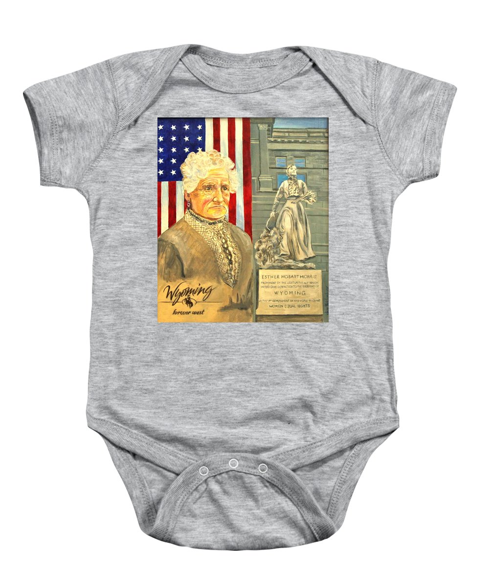 Portrait Of Esther Hobart Morris Baby Onesie featuring the painting Esther Hobart Morris by Jan Mecklenburg