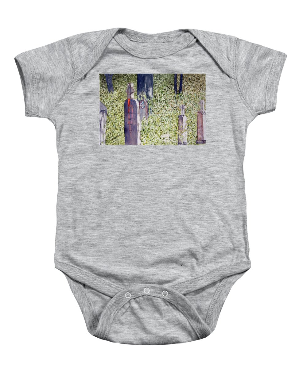 Cemeteries Baby Onesie featuring the painting Eternity In Hoonah by Larry Wright