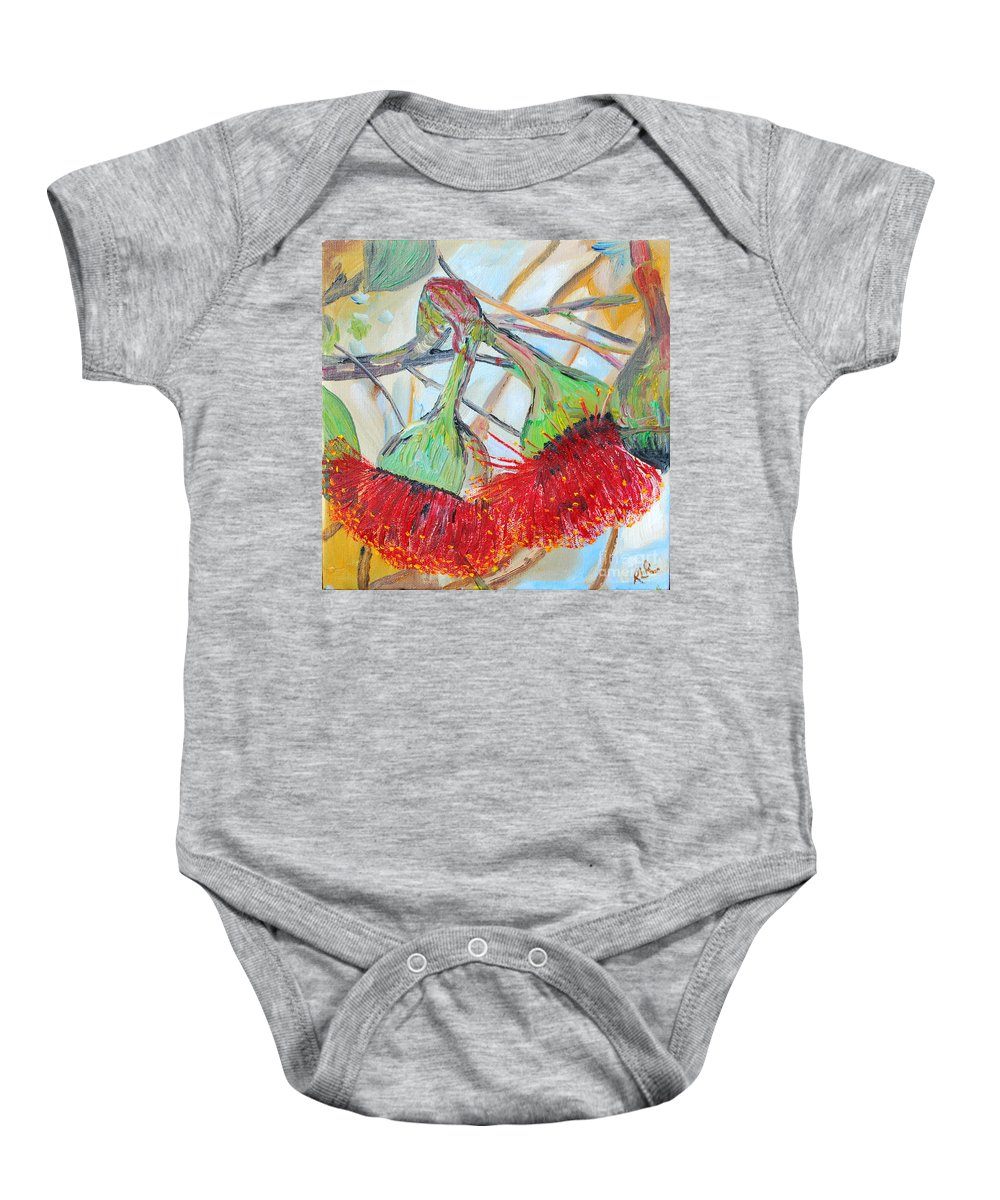 Flowers Baby Onesie featuring the painting Eucalyptus Flowers by Reina Resto