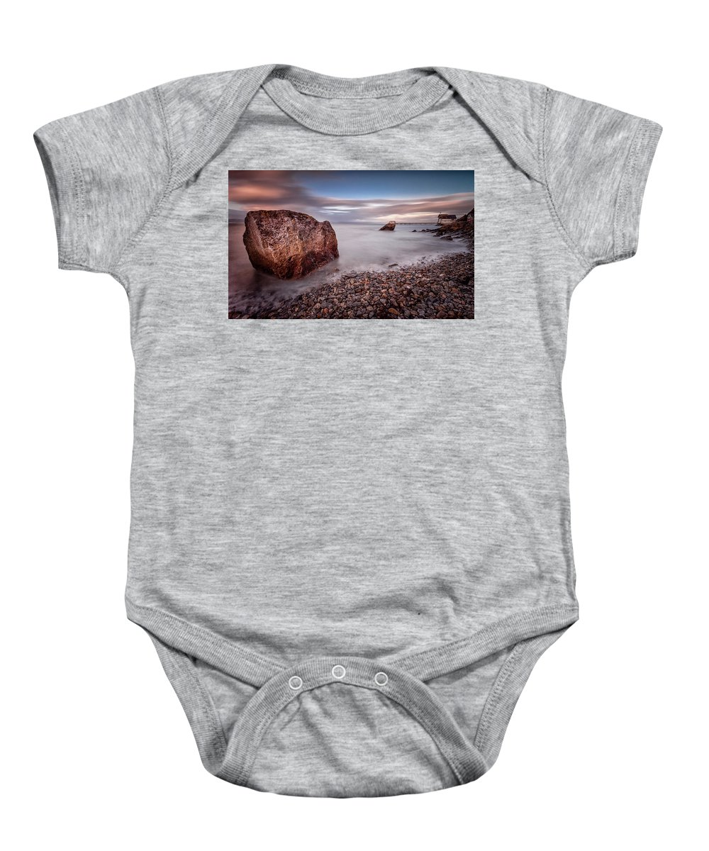 Mumbles Pier Baby Onesie featuring the photograph Evening At Knab Rock In Mumbles by Leighton Collins
