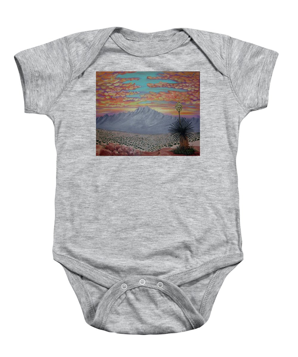 Desertscape Baby Onesie featuring the painting Evening in the Desert by Marco Morales