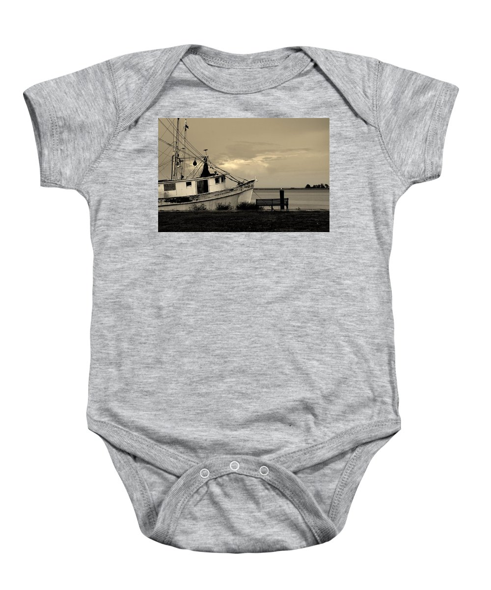 Harbor Baby Onesie featuring the photograph Evening In The Harbor by Susanne Van Hulst