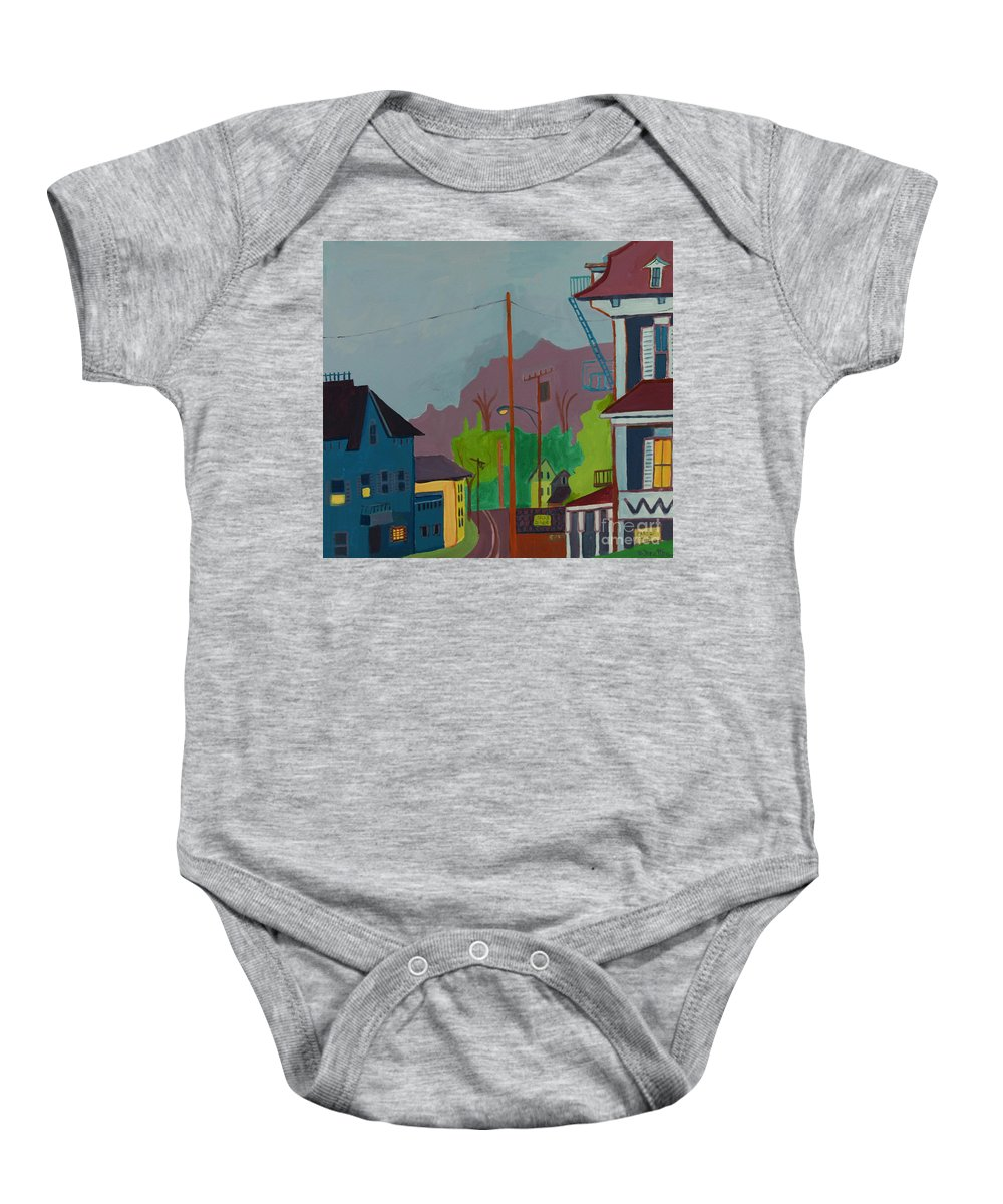 Town Baby Onesie featuring the painting Evening In Town Chelmsford Ma by Debra Bretton Robinson