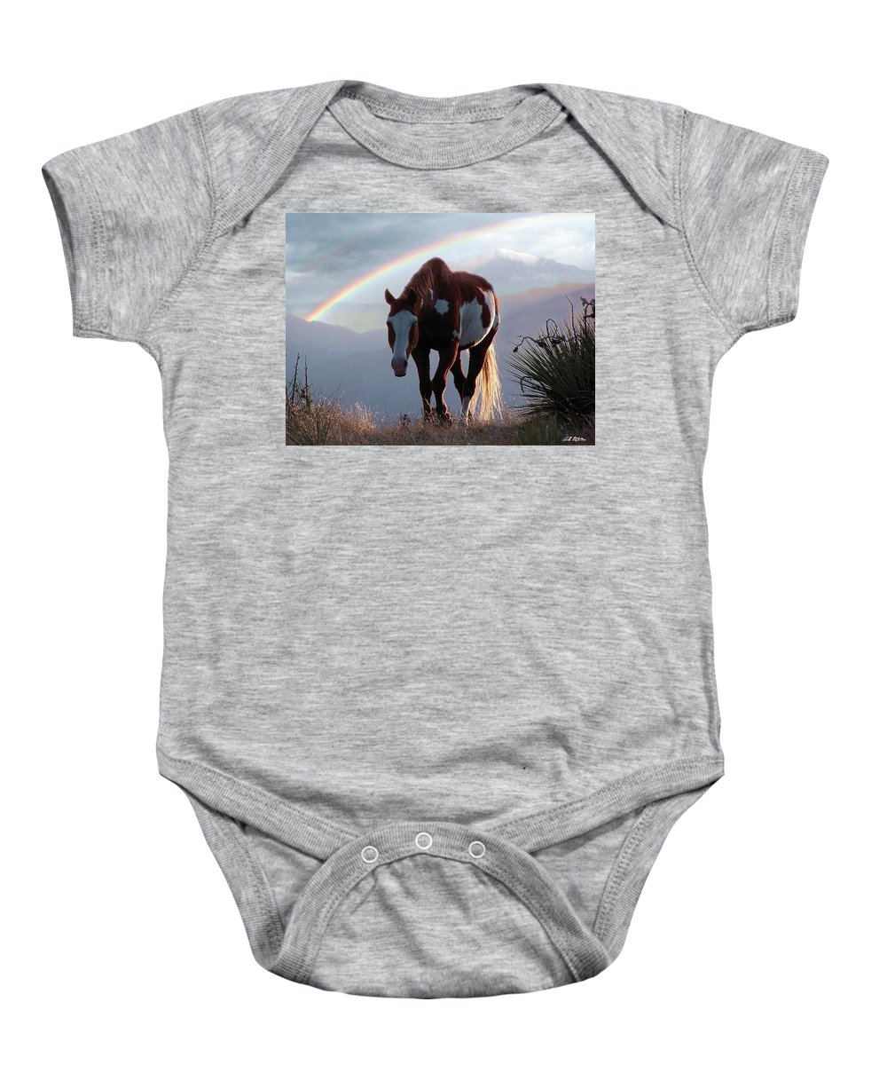 Horses Baby Onesie featuring the mixed media Evening Promise by Bill Stephens