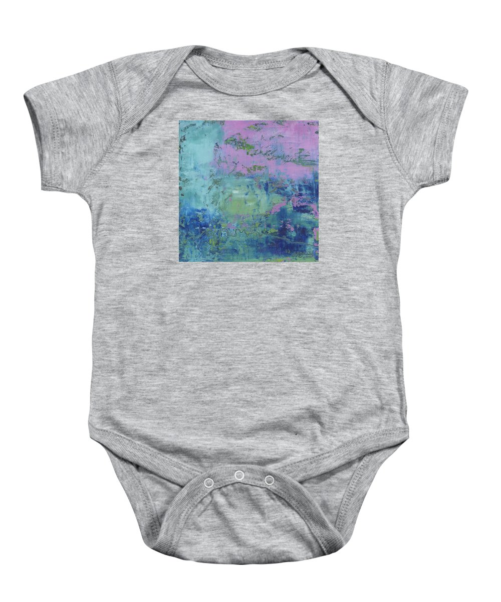 Abstract Baby Onesie featuring the painting Exotic by Marcy Brennan