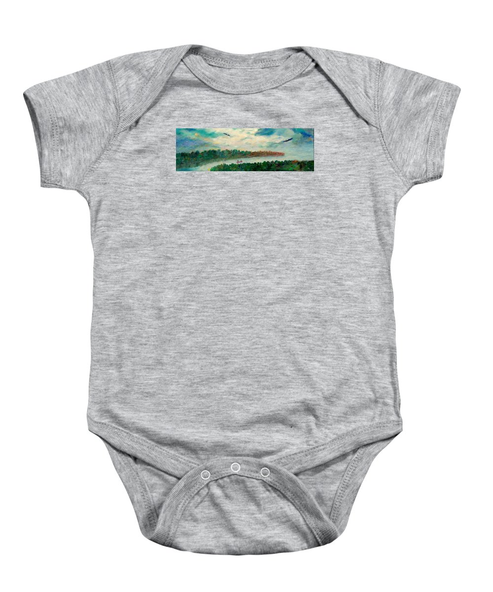 Canoeing On The Big Canadian Lakes Baby Onesie featuring the painting Exploring Our Lake by Naomi Gerrard
