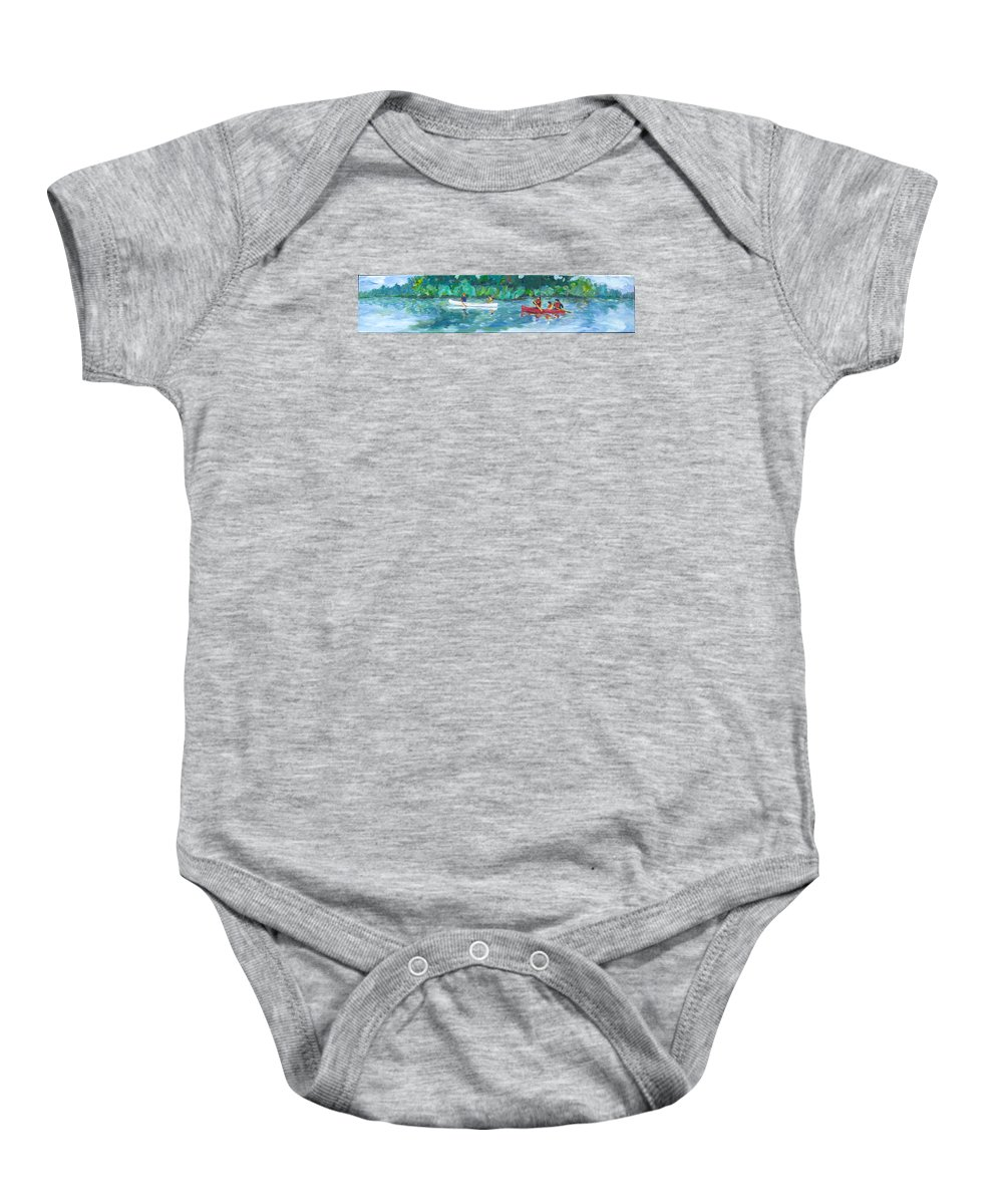 Canoing Baby Onesie featuring the painting Exploring Our River by Naomi Gerrard