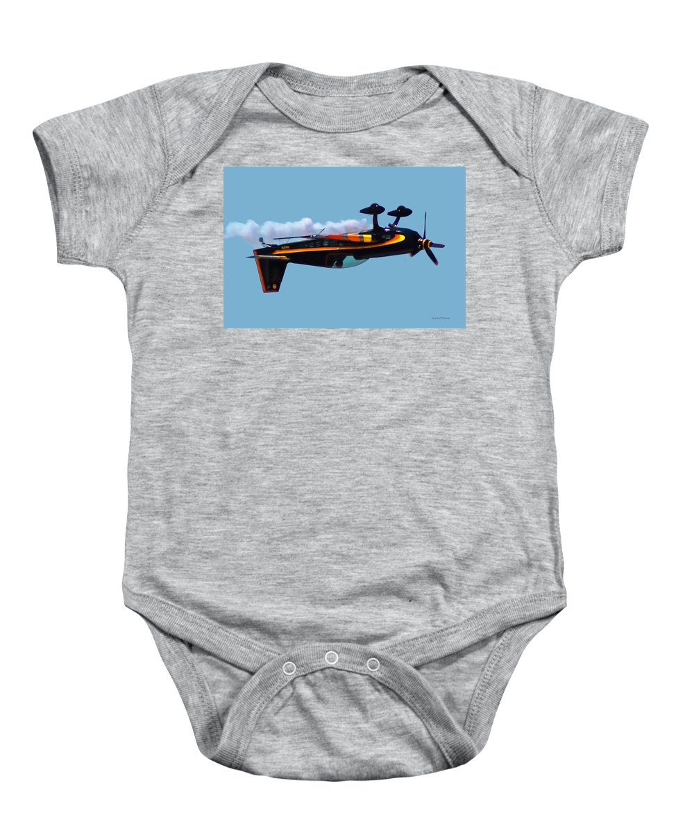 300s Baby Onesie featuring the digital art Extra 300s Stunt Plane by DigiArt Diaries by Vicky B Fuller