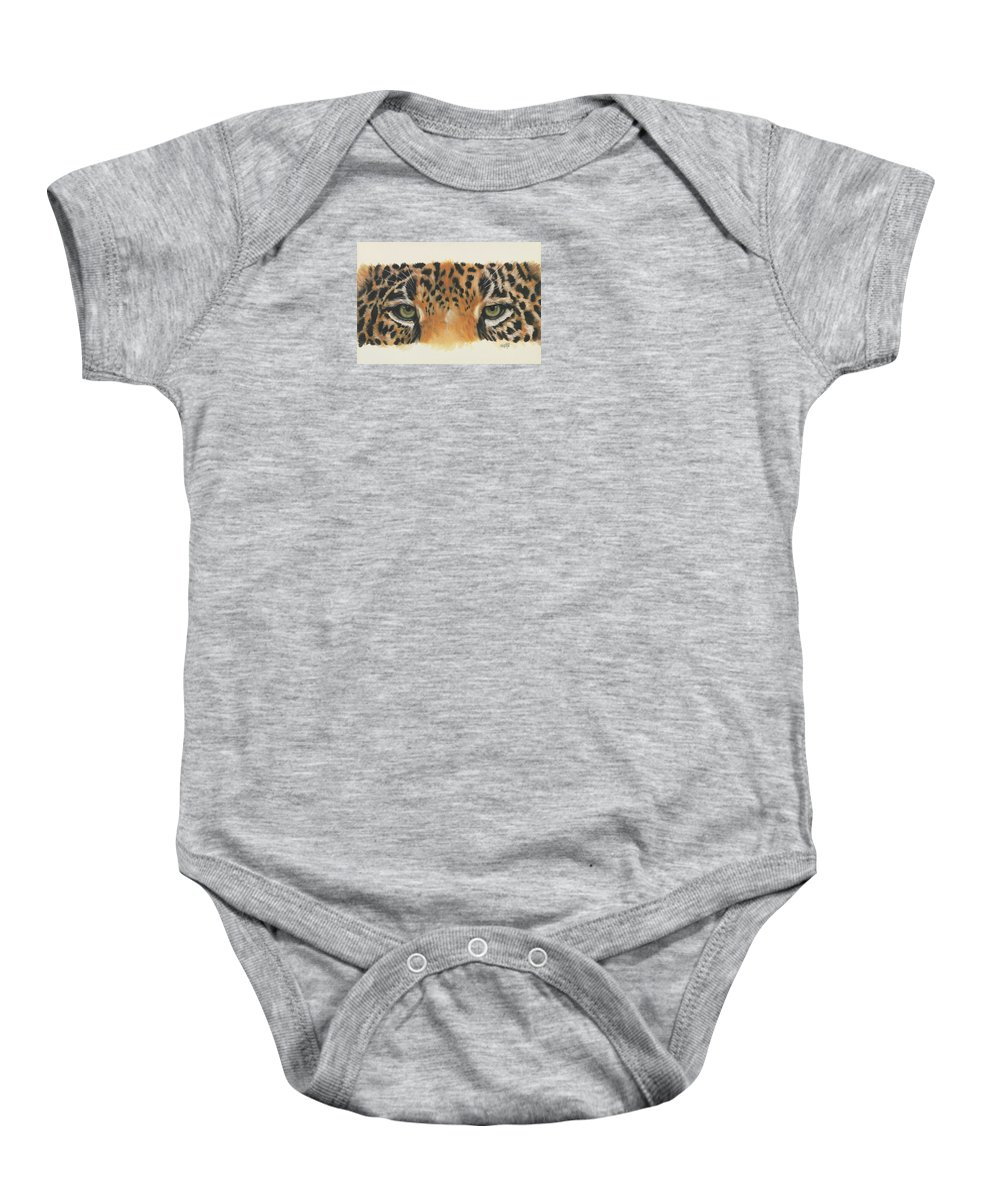 Jaguar Baby Onesie featuring the painting Eye-catching Jaguar by Barbara Keith