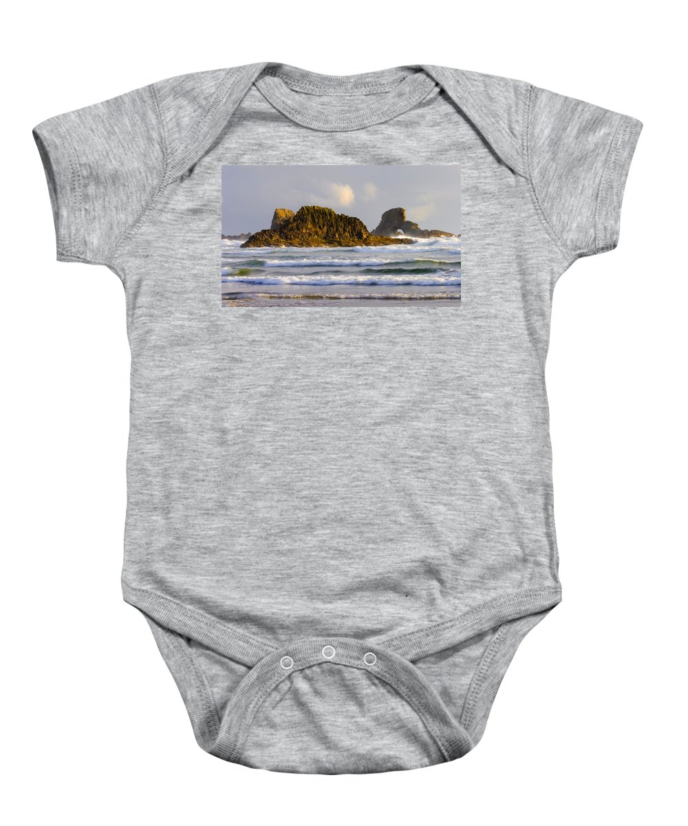Seastacks Baby Onesie featuring the photograph Eye Of The Storm by Mike Dawson