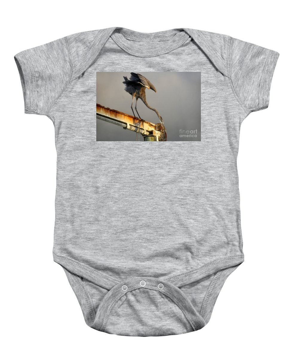 Hunting Baby Onesie featuring the photograph Eyeing The Catch by David Lee Thompson