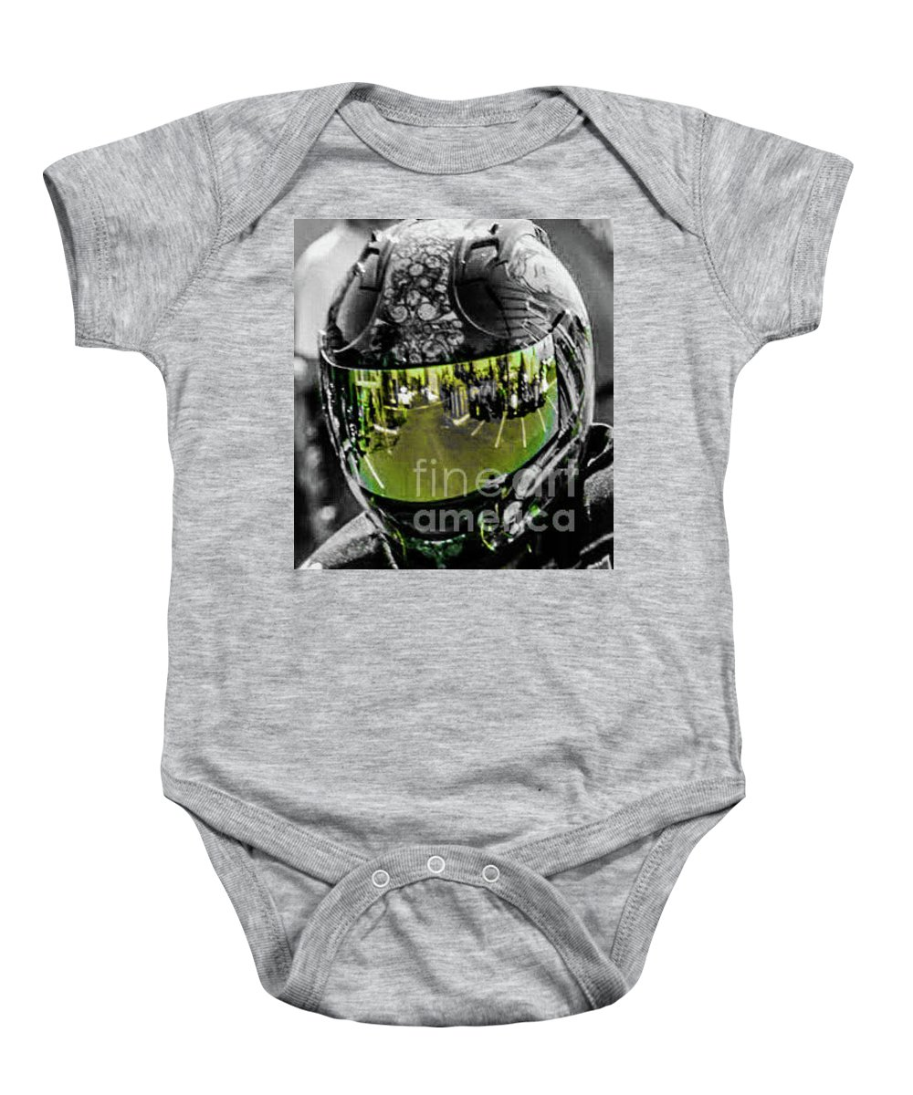 Motorcycle Helmut Baby Onesie featuring the photograph Eye's On The Road by Loretta Bueno