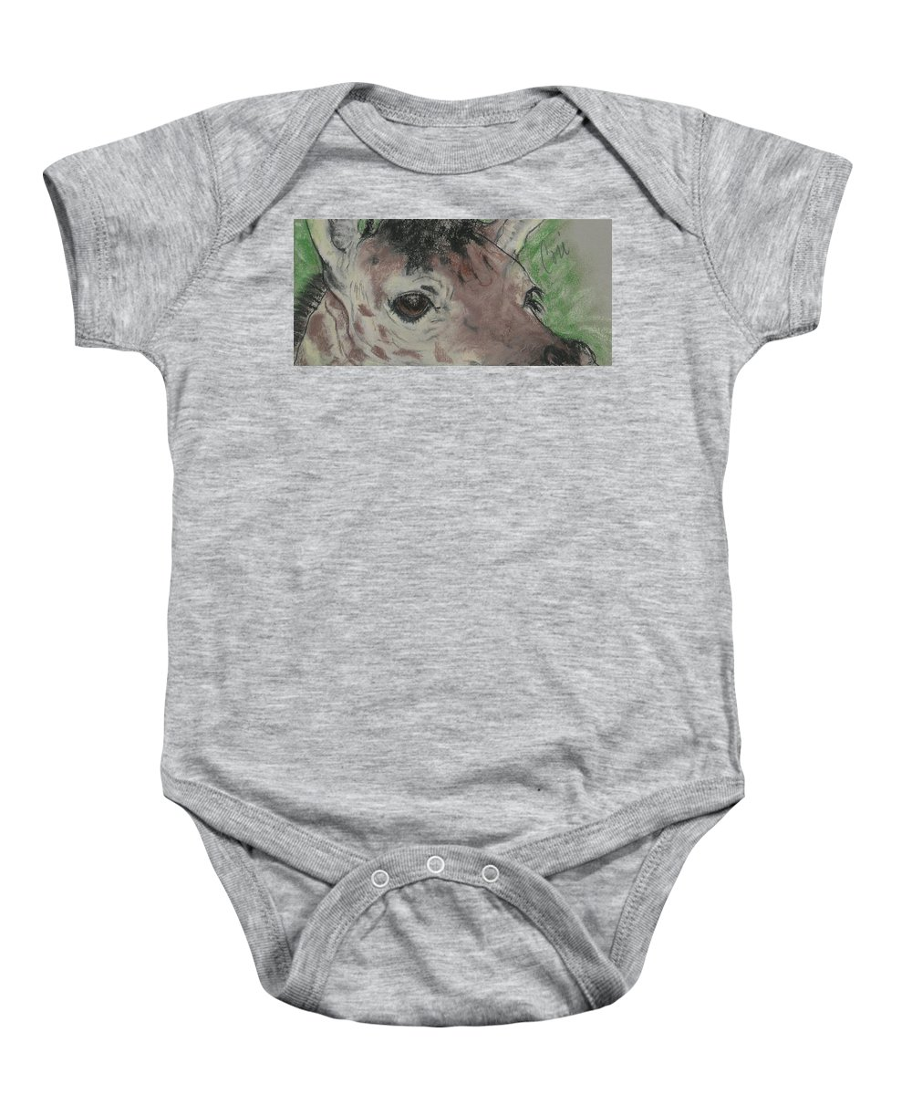 Giraffe Baby Onesie featuring the drawing Eyes On You by Cori Solomon
