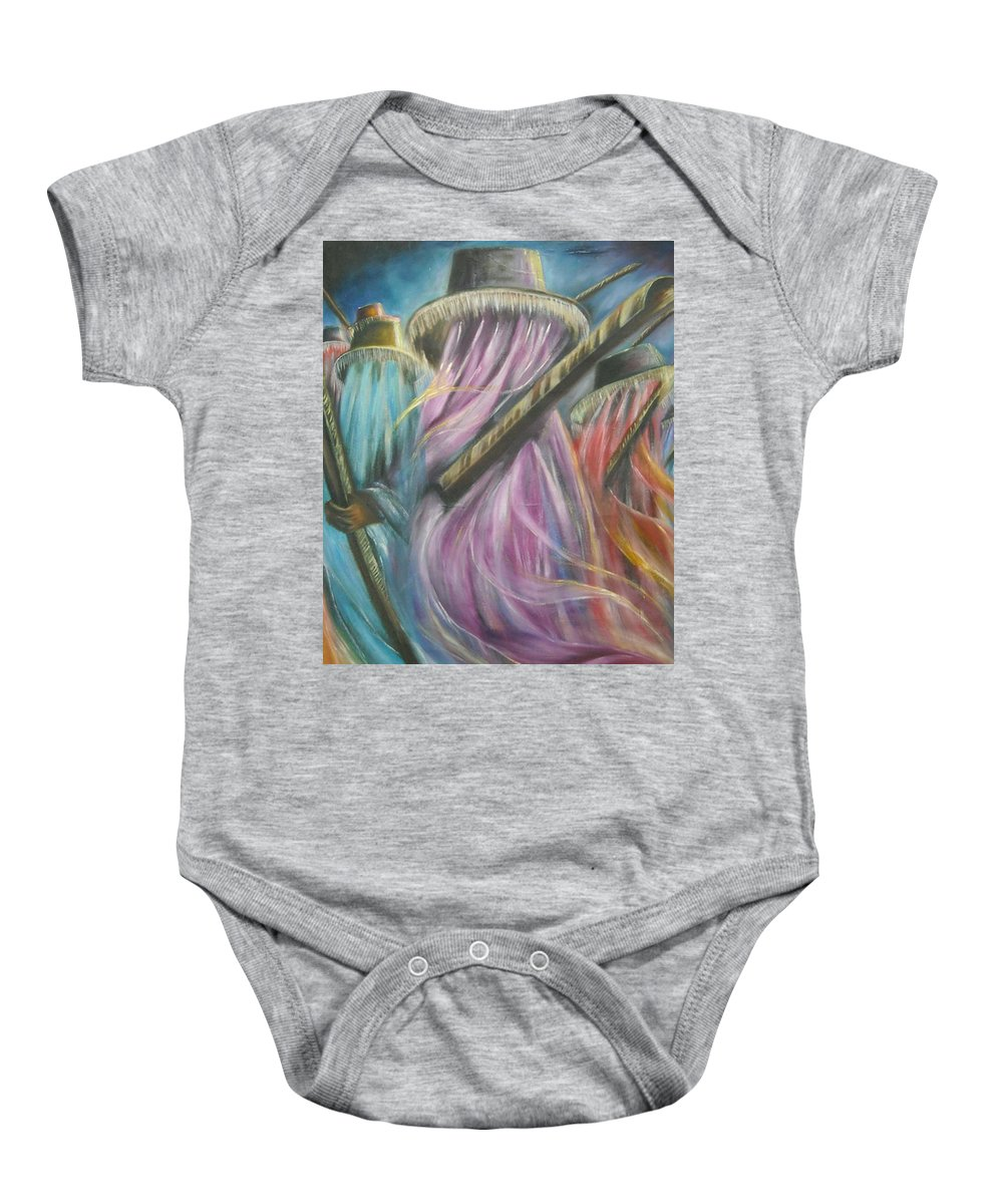 Masquerade Baby Onesie featuring the painting Eyo Masquerade Colorful by Olaoluwa Smith