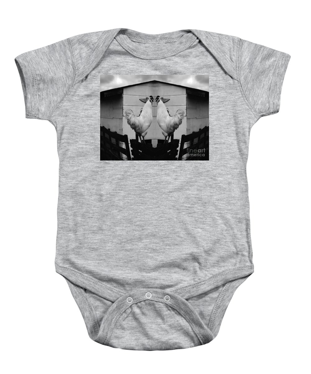 Rooster Baby Onesie featuring the photograph Face Off by Peter Piatt