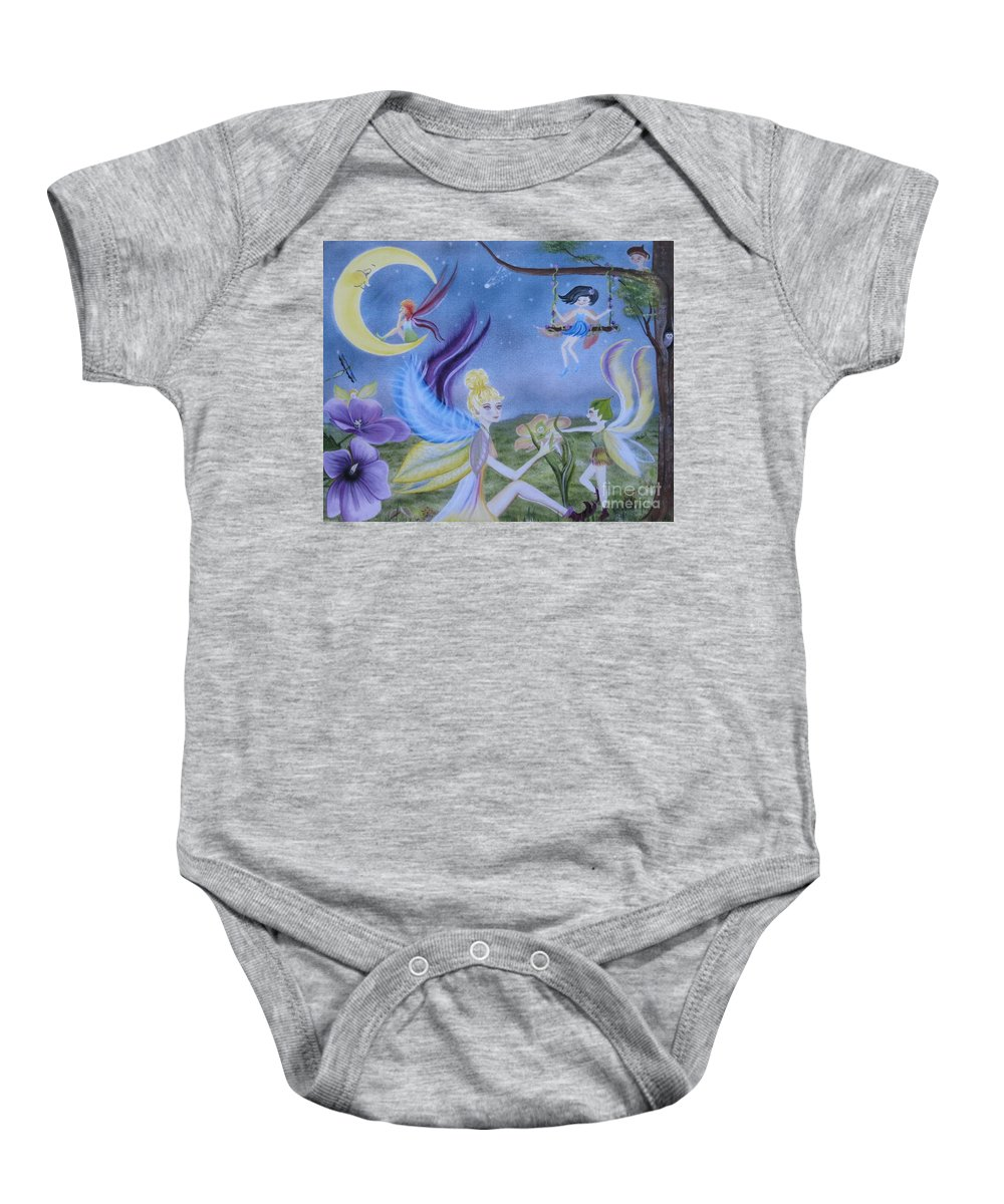 Fairies Baby Onesie featuring the painting Fairy Play by RJ McNall