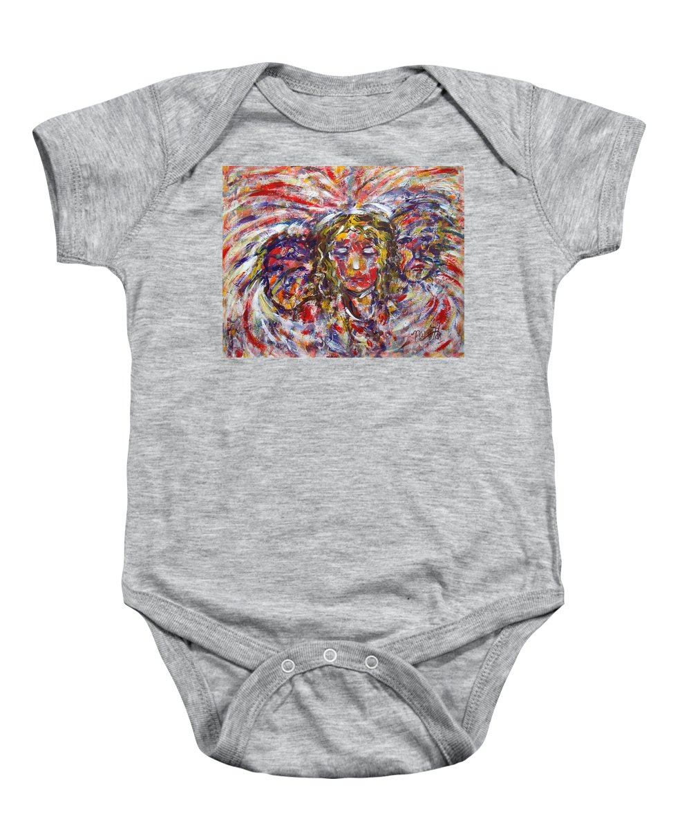 Woman Baby Onesie featuring the painting Faith Hope And Love by Natalie Holland