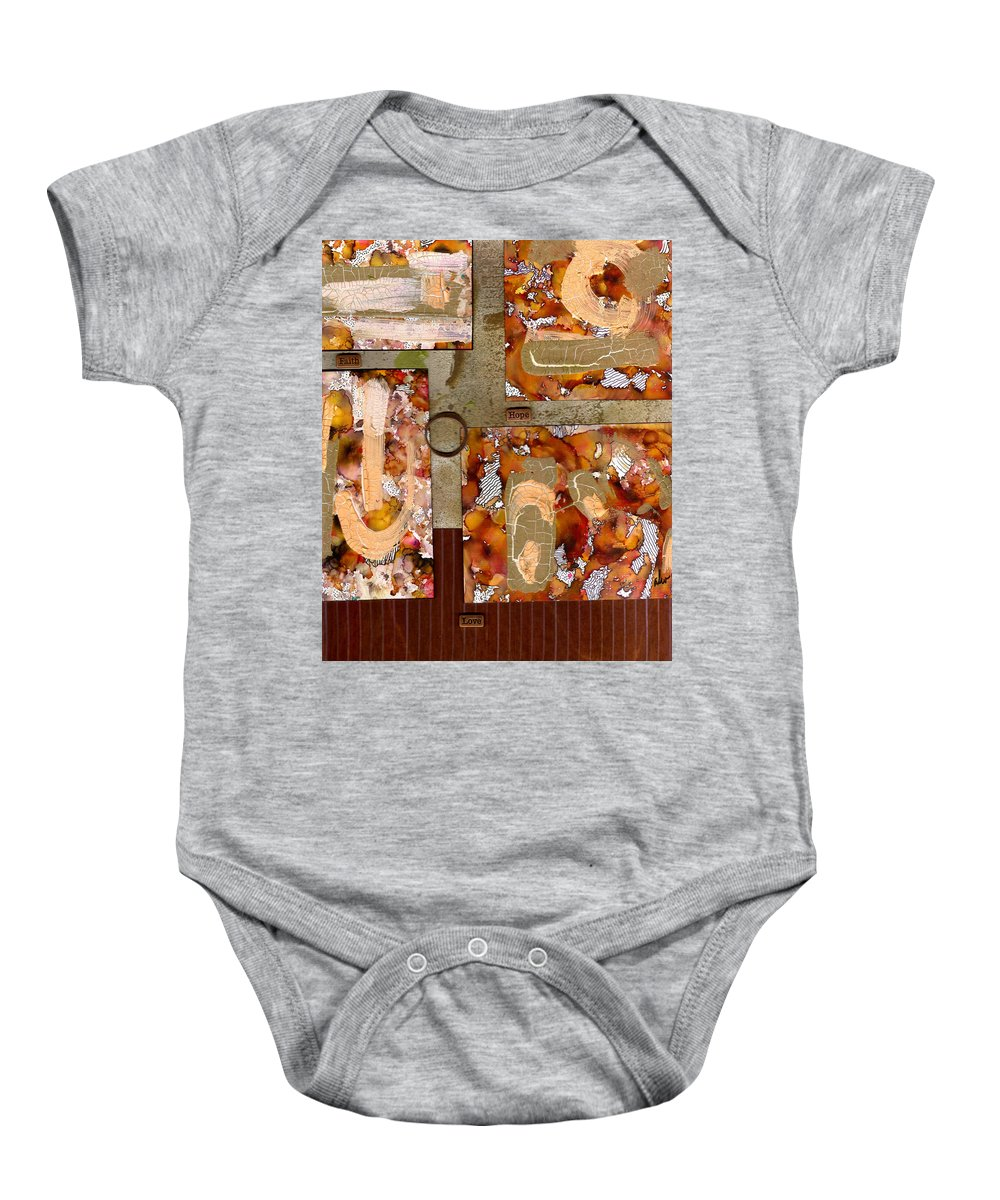 Wood Baby Onesie featuring the mixed media Faith Hope Love by Angela L Walker