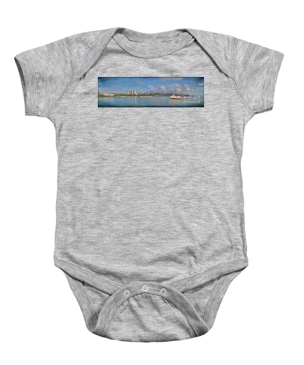 Fajardo Baby Onesie featuring the photograph Fajardo Ferry Service To Culebra And Vieques Panorama by David Zanzinger