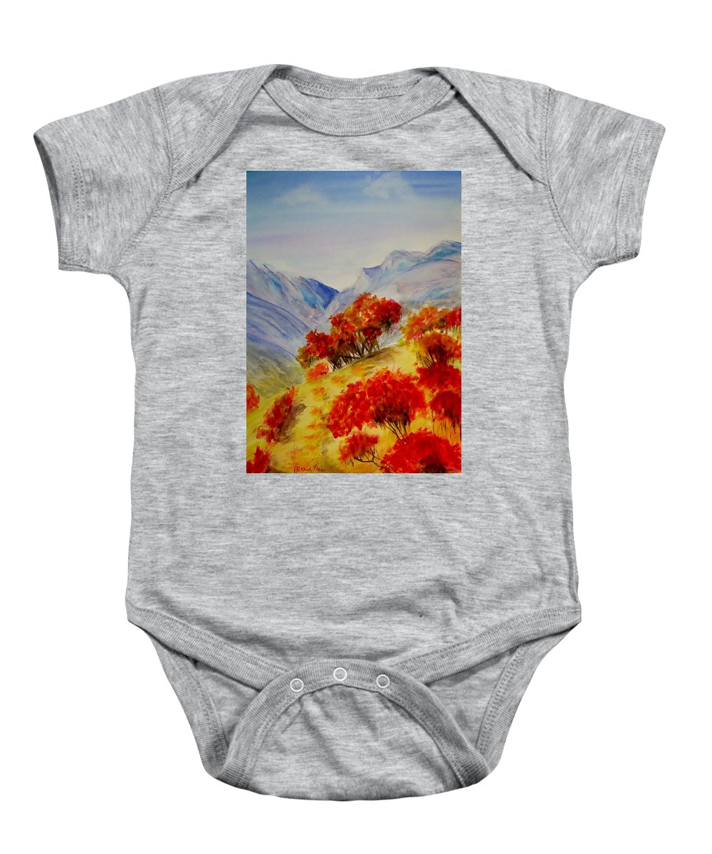 Mountains Baby Onesie featuring the painting Fall Color by Jamie Frier