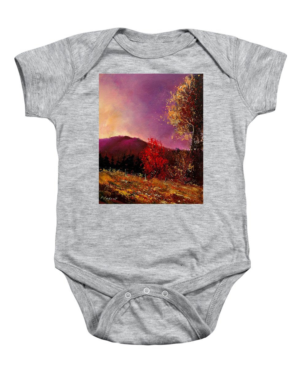 River Baby Onesie featuring the painting Fall Colors by Pol Ledent