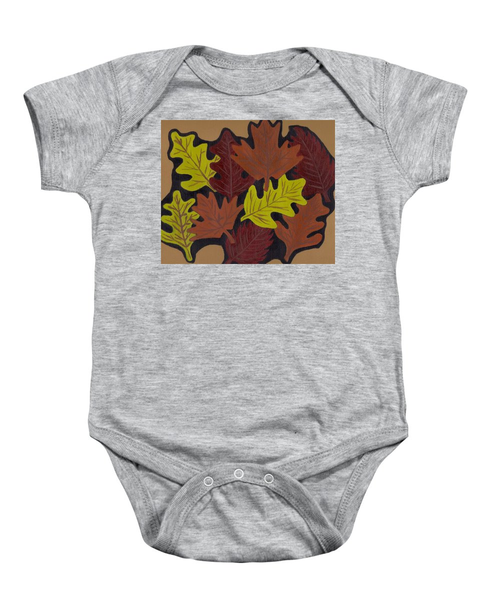 Leaves Baby Onesie featuring the painting Fall Leaves by Jill Christensen