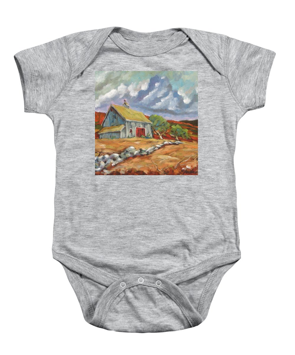 Farm Baby Onesie featuring the painting Fall Scene by Richard T Pranke