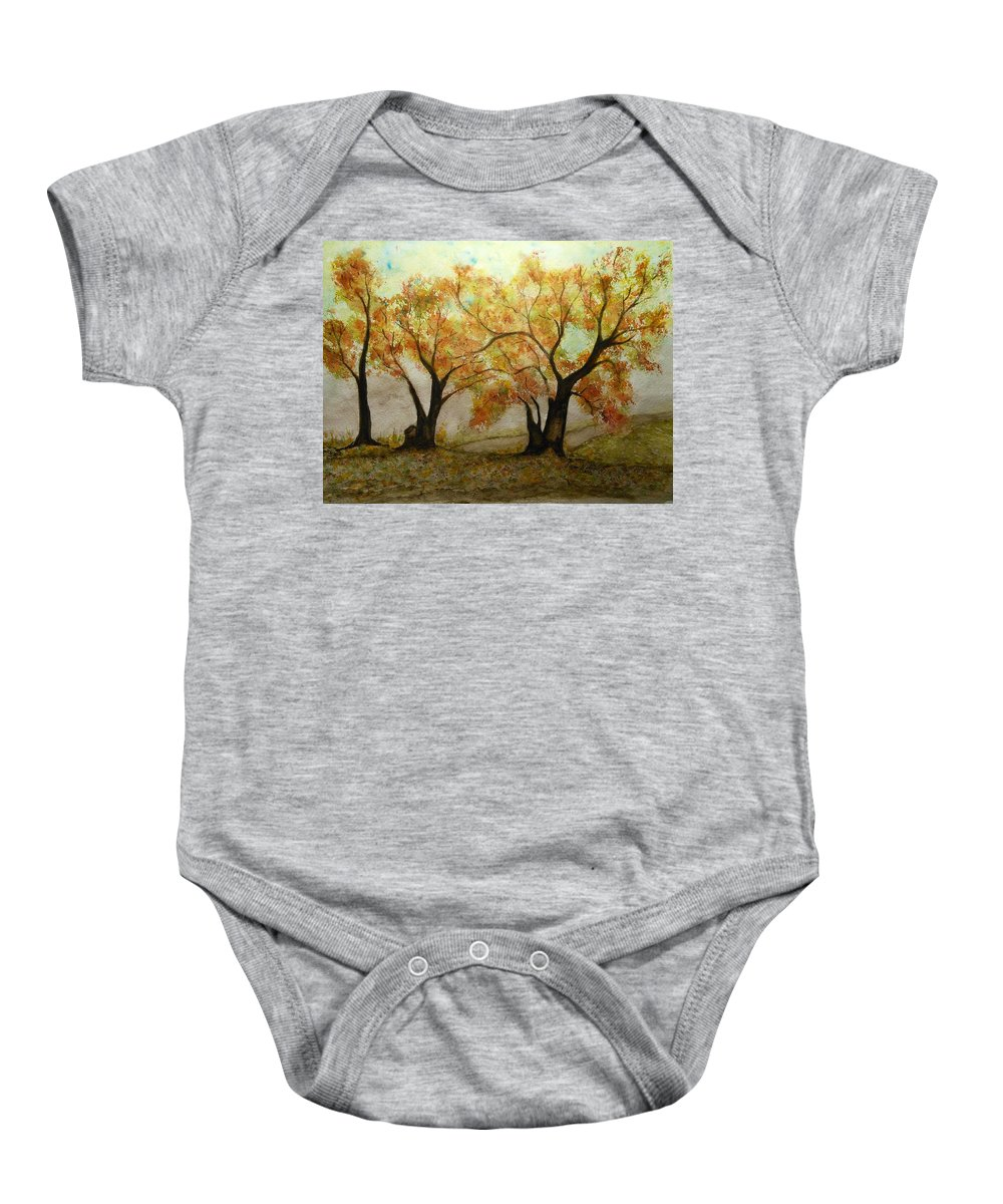 Fall Colors Baby Onesie featuring the painting Fall Scene by Susan Nielsen